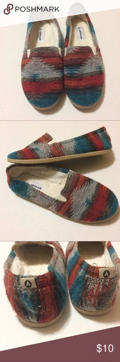 Santa Fe / Serape Shoes Really cute and really soft fur inside. Cute serape pattern. Have only been worn a few times. No flaws. Airwalk Shoes Flats & Loafers
