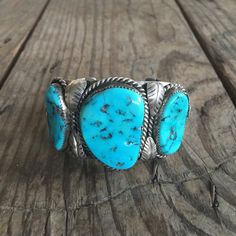 Vintage Triple Turquoise Stone Cuff