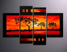 hand-painted oil paintings on canvas. It is nicely done oil painting of Landscape in Modern style. This painting is painted with great skill, masterful brush strokes by our talented artist. Multi Canvas Art, Modern Canvas Art, Contemporary Wall Art, Canvas Wall Art, Multiple Canvas Paintings, Landscape Painting Artists, Modern Oil Painting, African Art, Painting Inspiration