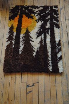 Vintage Latch Hook Rugs Horses And Sunset