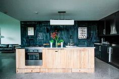 Church floor kitchen, #ireland chalkboard wall, up-cycled, cabinets, wood kitchen