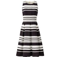 Rental kate spade new york Black and White Cape Stripe Dress ($85) ❤ liked on Polyvore featuring dresses, black white dress, kate spade, striped dress, kate spade dresses and print dress