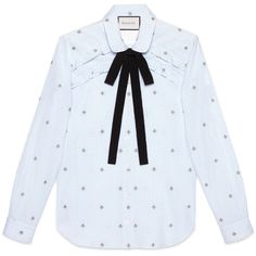 Gucci Bee Fil Coupé Shirt (17,380 MXN) ❤ liked on Polyvore featuring tops, shirts, blusas, clothing - ls tops, long sleeved, light blue, rounded collar shirt, light blue shirt, tie neck tie and long-sleeve shirt