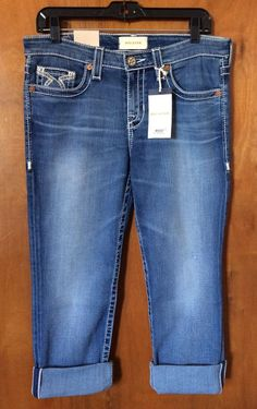 BIG STAR KATE CROP Women Jeans Size 29 Mid Rise Straight Boyfriend Denim Pant #BigStar #BoyfriendCapriCropped
