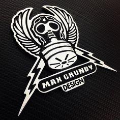Max Grundy's flying gas mask. For more info visit www.billetbadges.com.  #billetbadges #maxgrundy #emblem #custom #madeinusa