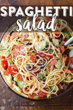 Our delicious cold spaghetti salad is the perfect potluck recipe that keeps very. Our delicious cold spaghetti salad is the perfect potluck recipe that keeps very well in the refrigerator. (note: made this 3 times, DELICIOUS! Cucumber Pasta Salad, Easy Pasta Salad, Pasta Salad Italian, Pasta Salad Recipes, Cold Spaghetti Salad, Cold Pasta, Cheese Spaghetti, Spaghetti Noodles, Spagetti Pasta Salad