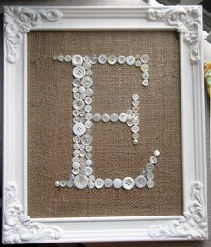 Letter E Button Monogram Antique Frame Included by EufemiaBella