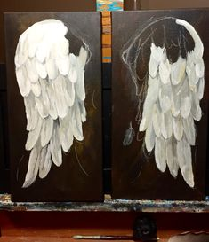 how to paint angel wings on canvas Angel Wings Painting, Diy Angel Wings, Angel Art, Diy Wings, Diy Angels, Angel Crafts, Tole Painting, Art Techniques, Painting Inspiration