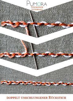 Pumora's Stich-Lexikon: doppelt umschlungener Rückstich; double threaded back stitch (EN); point de piqûre double rebrodé/orné/entrelacé (FR); punto pespunte entrelazados doble (ES)