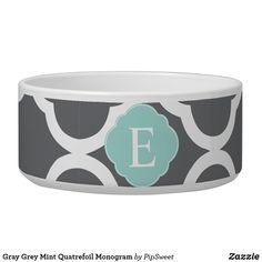 Gray Grey Mint Quatrefoil Monogram Bowl Pet Bowls, Large Animals, Quatrefoil, Pet Accessories, Dog Design, Dog Gifts, White Ceramics, Keep It Cleaner, Pet Stuff