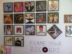 Frames for all of Bright Antenna's band's releases! a wall of records in the office - maybe in the yoga lounge or conference room?