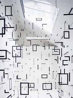 Geometric Rooms _ by Italian artist Esther Stocker_ She creates stunning geometric environments that can often be explored by the viewer, in unusual linear patterns and planes that transform the space _