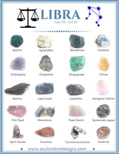 Libra Healing Crystals by Soul Sisters Desings Healing Crystals associated with each of the 12 Houses of the Zodiac compiled into individual graphics to make learning your Zodiac's crystals easy! Crystal Healing Stones, Crystal Magic, Healing Crystal Jewelry, Quartz Crystal, Crystals And Gemstones, Stones And Crystals, Gem Stones, Libra Stone, Beaded Beads