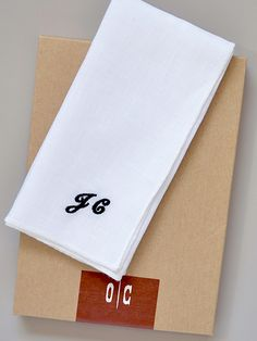 O'Harrow Clothiers White Linen Monogrammed Pocket Square