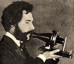 Great British Inventions - The Telephone. The telephone was invented by British inventor Alexander Graham Bell and patented in Picture - Alexander Graham Bell speaking into an early telephone. Alexander Graham Bell, Robert Louis Stevenson, James Watt, Today In History, Great Inventions, Influential People, Foto Art, Le Web, Industrial Revolution
