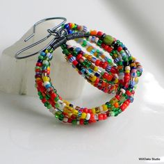 Hoop Earrings with Brightly Colored Antique Trade Beads, Big Dangle Hoops, Multi Colored Earrings, Willoaksstudio