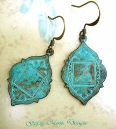Distressed Ethnic Earrings.  Pair with brown leather vest top and jeans