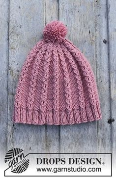 Ravelry: a Lille Lisa Hat pattern by DROPS design Crochet Beanie Pattern, Baby Knitting Patterns, Knit Crochet, Crochet Hats, Scarf Patterns, Knit Cowl, Crochet Granny, Knit Beanie, Hand Crochet