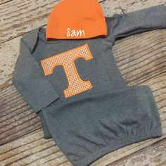 Tennessee Baby, UT outfit, Volunteer Baby, Tennessee Gown, Onesie Tennessee Boy, Football Outfit, Boy Football Set, UT Vols, Baby Vol