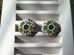 Flower Fabric Covered Button Post Earrings