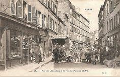 La rue des Amandiers au niveau de la rue des Partants, vers 1900  (Paris 75020)