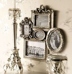 Highlight family photos! This qould be great to recreate this with actual vintage frames.