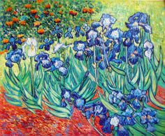 "Van Gogh - ""Irises"" My favorite painting!  You can see it at the Getty in L.A. It's believed to be a psychological self-portrait. Van Gogh is the white iris."