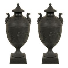 Wedgwood Black Basalt Covered Urns | From a unique collection of antique and modern vases at http://www.1stdibs.com/furniture/dining-entertaining/vases/