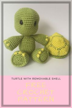 Free crochet turtle pattern. This comes with instructions for a removable shell! You can make it any color and size to match exactly what you want.