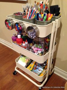 ideas to organize kids art and craft supplies using the ikea raskog utility cart. - Home Decor -DIY - IKEA- Before After Craft Room Storage, Craft Organization, Craft Rooms, Diy Storage, Organizing Art Supplies, Magnetic Storage, Diaper Storage, Arts And Crafts Storage, Bathroom Organization