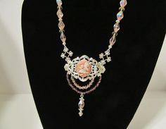 Victorian Filigree Necklace for Evening or Wedding by RomanticThoughts, $55.00 #BridalJewelry #EveningWear #Victorian #Handmade