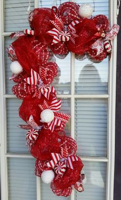 Candy cane deco mesh Christmas Wreath