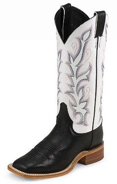 Justin Boots Ladies Bent Rail Collection Black Burnished Calf And White Western Boots BRL313 - Scruggsfarm.com