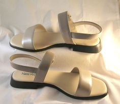 Maine Woods Sandals  Velcro closure  size 8 1/2 M  rubber soles  Linen Lustre Color  new without box  FREE SHIPPING WITHIN THE CONTINENTAL U S
