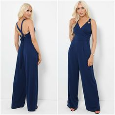 Womens Navy Blue Sleeveless Wrap Jumpsuit Size UK 12 Ladies Wide Leg Trousers  #LucasEmma #Jumpsuit #Party Wrap Jumpsuit, Navy Women, Wide Leg Trousers, Party Dresses, Online Price, Navy Blue, Lady, Christmas, Wedding