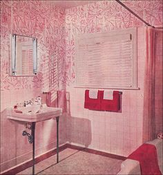 63 Ideas Bath Room Art Vintage Pink Tiles For 2019 Bathroom Red, White Vanity Bathroom, Vintage Bathrooms, Bathroom Wallpaper, Pink Bathrooms, Bathroom Ideas, 1950s Bathroom, Glass Bathroom, Art Nouveau