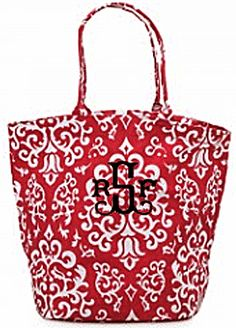 Red Vintage Glam Monogrammed Large Bettie Tote - girlytwirly.com