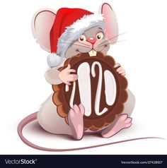 Funny cartoon santa mouse symbol of year 2020 with chocolate cookies - St , Cozy Christmas, Handmade Christmas, New Years Cookies, Chinese Calendar, Year Of The Rat, Christmas Characters, Christmas Drawing, Nouvel An, Cute Images