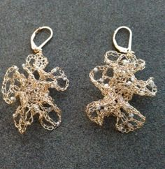 radka design morph crochet wire earrings in gold filled wire with tiny pearl beads