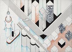 1977 ABACO 5_ NEW YORK_cartone cm. 50 x 70_by Brunetto De Batté
