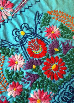 Mexican embroidery- so gorgeous! I want to learn how to do this.