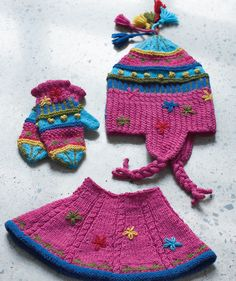 Hat, Collar & Gloves For Children pattern Sizes from 3 to' 12 years