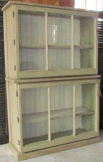 By Your Hands: Trash to Treasure -- Storage..MADE WITH 2 OLD DRAWERS AND 2 OLD WINDOW THEN ADD HINDGES AND WOOD MOLDING ON BOTTOM...FOR MY STORAGE IN KITCHEN....