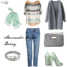 http://aminahshijabdiary.wordpress.com/ #hijab #muslimah #modestfashion #fashion #style #mystyle #look #lookbook #outfit #ootd #cardigan #grey #boyfriendjeans #denim #mint #stripes #silver