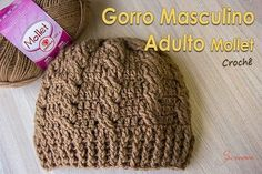 Gorro Masculino Adulto Mollet  https://www.youtube.com/watch?v=KIaFYtHQ3l0 #crochet #professorasimone #semprecirculo