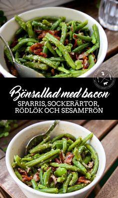 Bönsallad med bacon och sesamfrön
