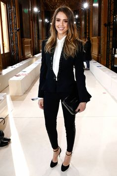 Vegan never looked so chic. Jessica Alba in a lovely embellished Stella McCartney suit.