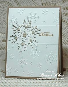 Merry Monday Christmas Challenge: Merry Monday #132 {Snowflakes, Neutral Colors and Dry Embossing!}