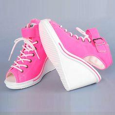 Open Toe Platform Wedge Sneakers – Gangnam Styles - Korean Wedge Sneakers