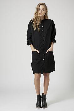 Collarless Denim Dress by Boutique - Topshop